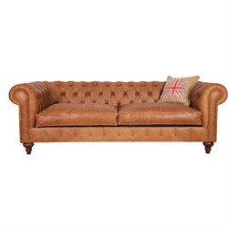 3A Mobilya Old English Real Leather Chesterfield